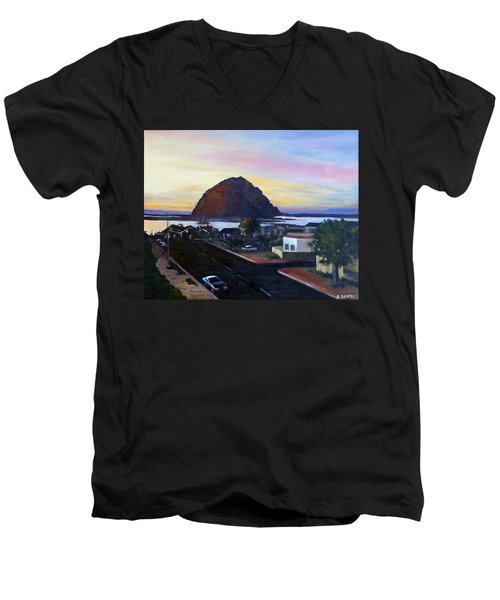 Morro Rock At Night Men's V-Neck T-Shirt