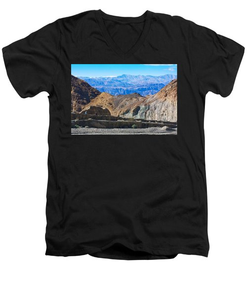 Men's V-Neck T-Shirt featuring the photograph Mosaic Canyon Picnic by Stuart Litoff