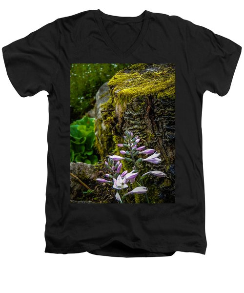 Moss And Flowers In Markree Castle Gardens Men's V-Neck T-Shirt