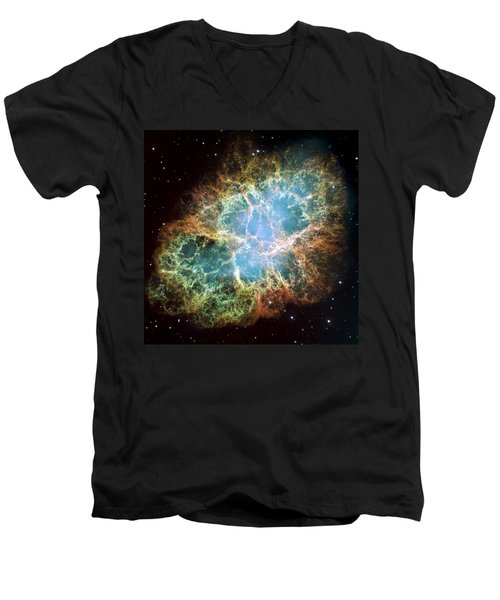 Most Detailed Image Of The Crab Nebula Men's V-Neck T-Shirt by Adam Romanowicz