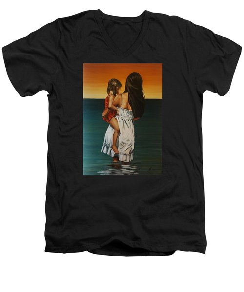 Mother And Daughter II Men's V-Neck T-Shirt by Natalia Tejera