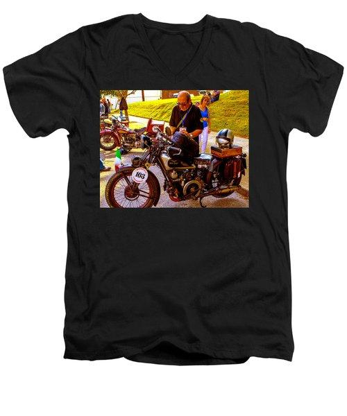 Moto Guzzi At Cannonball Motorcycle Men's V-Neck T-Shirt