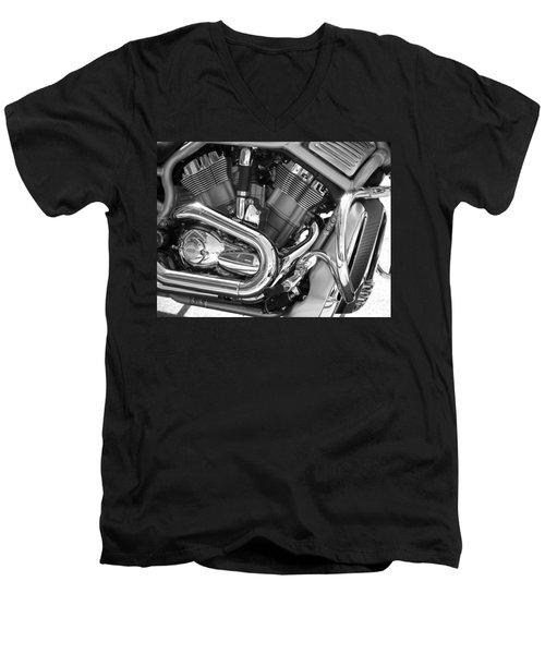 Motorcycle Close-up Bw 1 Men's V-Neck T-Shirt
