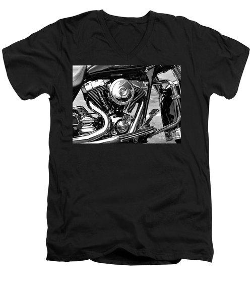 Motorcycle Engine Black And White Men's V-Neck T-Shirt