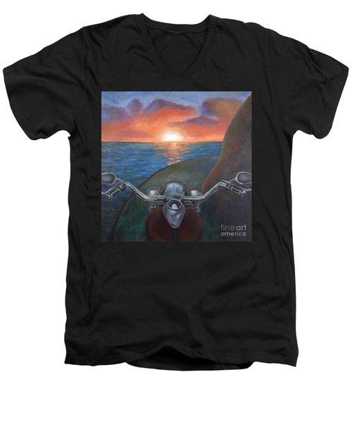 Motorcycle Sunset Men's V-Neck T-Shirt