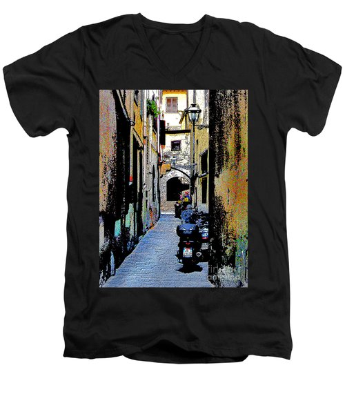 Men's V-Neck T-Shirt featuring the digital art Motorcyle In Florence Alley by Jennie Breeze