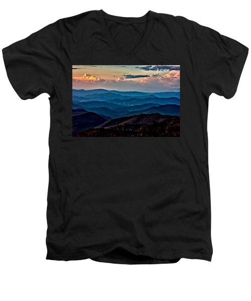 Men's V-Neck T-Shirt featuring the photograph Mount Mitchell Sunset by John Haldane