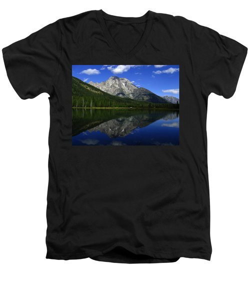 Men's V-Neck T-Shirt featuring the photograph Mount Moran And String Lake by Raymond Salani III