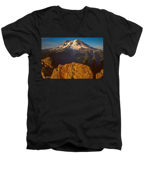 Mount Rainier At Sunset With Big Boulders In Foreground Men's V-Neck T-Shirt by Jeff Goulden