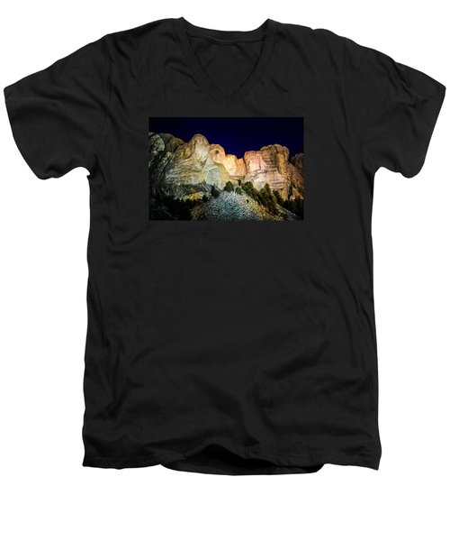 Men's V-Neck T-Shirt featuring the photograph Mount Rushmore At Night by Penny Lisowski