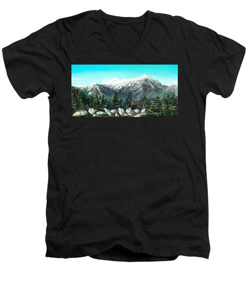 Mount Washington Men's V-Neck T-Shirt by Shana Rowe Jackson