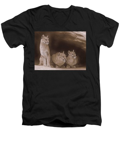 Mountain Lion Trio On Alert Men's V-Neck T-Shirt