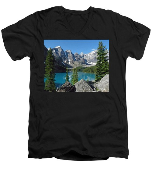 Mountain Magic Men's V-Neck T-Shirt by Alan Socolik
