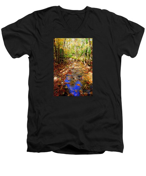 Mountain Stream Covered With Fall Leaves Men's V-Neck T-Shirt by Eunice Miller