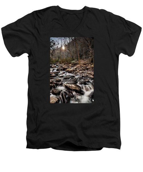 Men's V-Neck T-Shirt featuring the photograph Icy Mountain Stream by Debbie Green