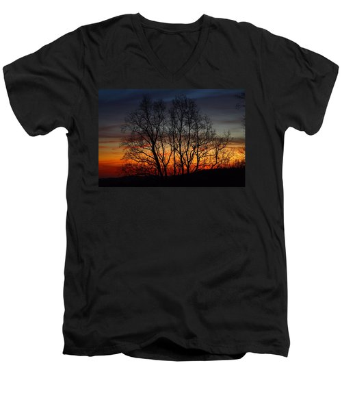 Men's V-Neck T-Shirt featuring the photograph Mountain Sunset by Kathryn Meyer