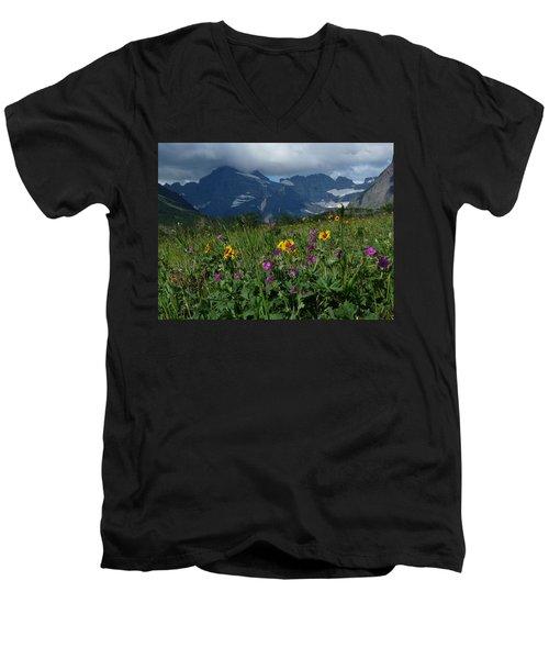 Mountain Wildflowers Men's V-Neck T-Shirt by Alan Socolik