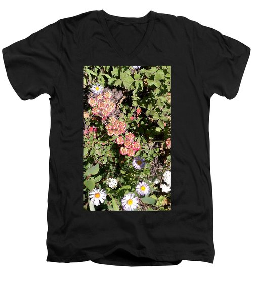 Men's V-Neck T-Shirt featuring the photograph Mountain Wildflowers by Fortunate Findings Shirley Dickerson