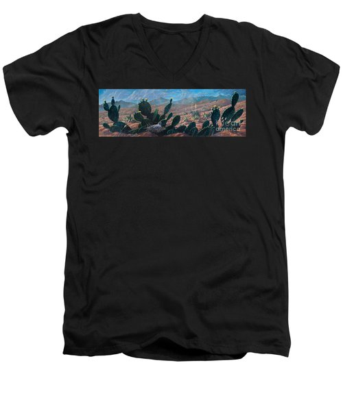 Men's V-Neck T-Shirt featuring the painting Mourning Dove Desert Sands by Rob Corsetti