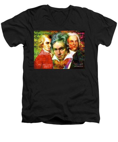Mozart Beethoven Bach 20140128 Men's V-Neck T-Shirt