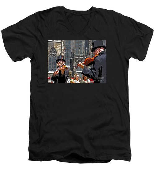 Men's V-Neck T-Shirt featuring the photograph Mozart In Masquerade by Ann Horn