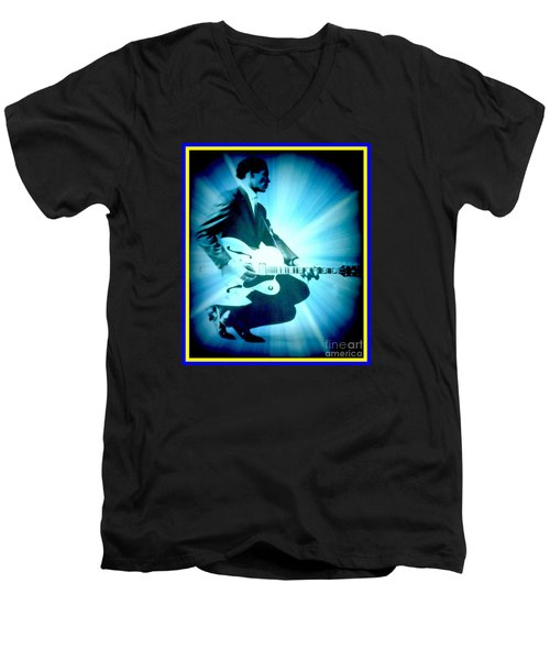 Mr Chuck Berry Blueberry Hill Style Edited Men's V-Neck T-Shirt by Kelly Awad