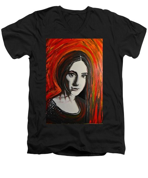 Men's V-Neck T-Shirt featuring the painting Portrait In Black #x by Sandro Ramani