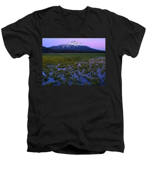 Mt. Bachelor Twilight Men's V-Neck T-Shirt by Kevin Desrosiers
