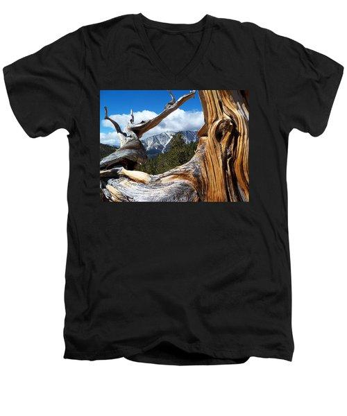 Mt. Charleston Thru A Tree Men's V-Neck T-Shirt by Alan Socolik