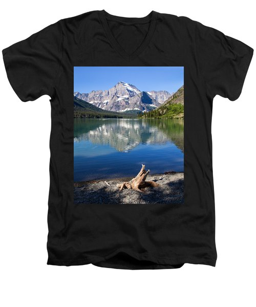 Mt Gould Reflections Men's V-Neck T-Shirt by Jack Bell