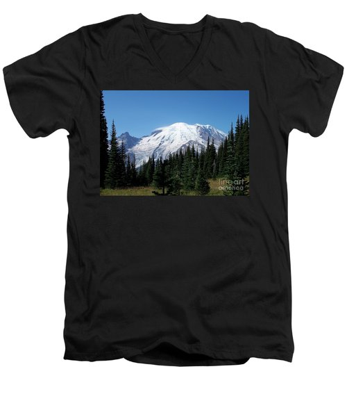 Men's V-Neck T-Shirt featuring the photograph Mt. Rainier In August by Chalet Roome-Rigdon