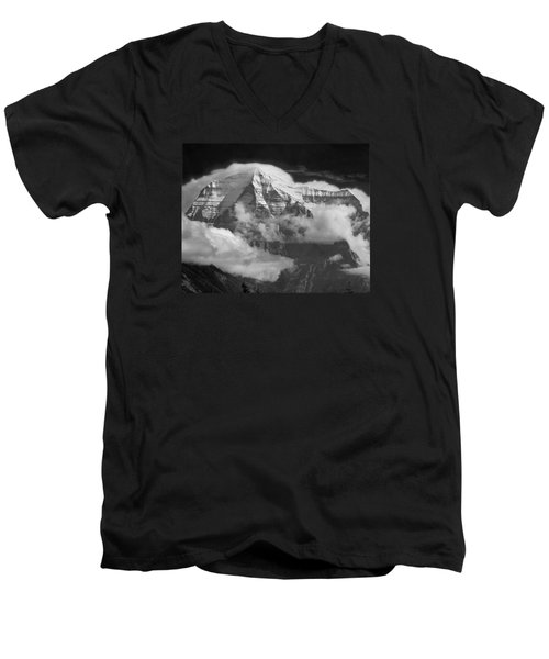 102496-mt. Robson Wreathed In Clouds Men's V-Neck T-Shirt