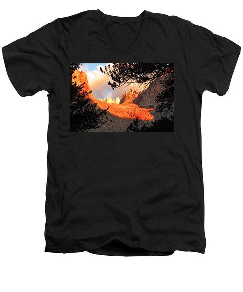 Men's V-Neck T-Shirt featuring the photograph Mt. Whitney Sunrise by Alan Socolik