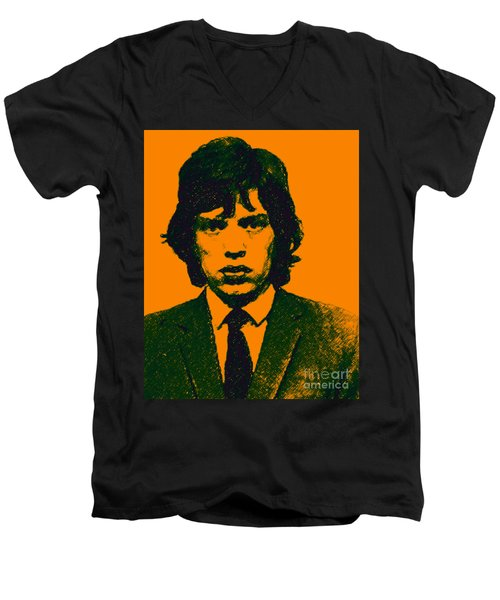 Mugshot Mick Jagger P0 Men's V-Neck T-Shirt