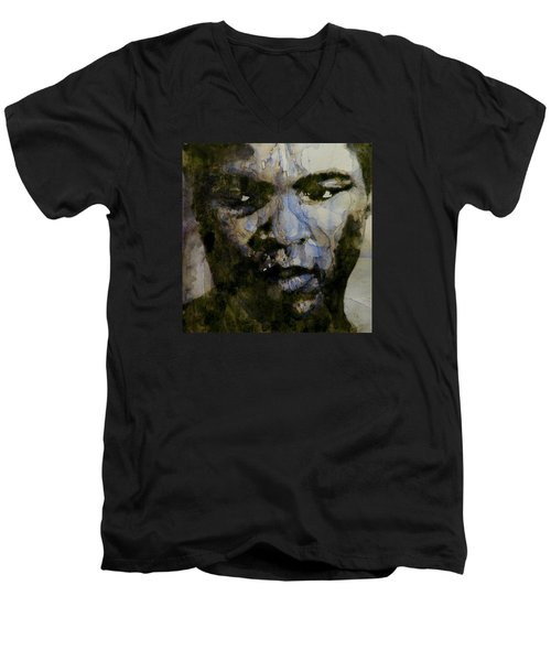 Muhammad Ali  A Change Is Gonna Come Men's V-Neck T-Shirt by Paul Lovering