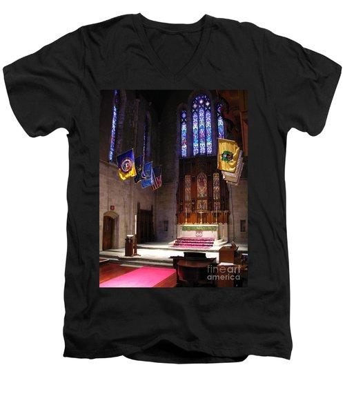 Egner Memorial Chapel Altar Men's V-Neck T-Shirt by Jacqueline M Lewis