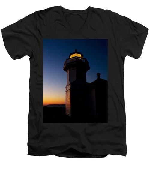 Men's V-Neck T-Shirt featuring the photograph Mukilteo Light House Sunset by Sonya Lang