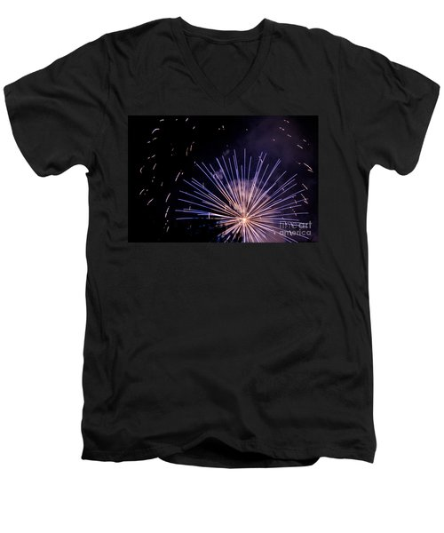 Men's V-Neck T-Shirt featuring the photograph Multicolor Explosion by Suzanne Luft