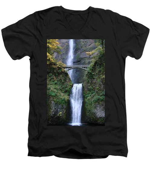 Men's V-Neck T-Shirt featuring the photograph Multnomah Falls by Athena Mckinzie