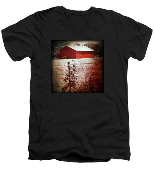 Murder In The Red Barn Men's V-Neck T-Shirt by Trish Mistric