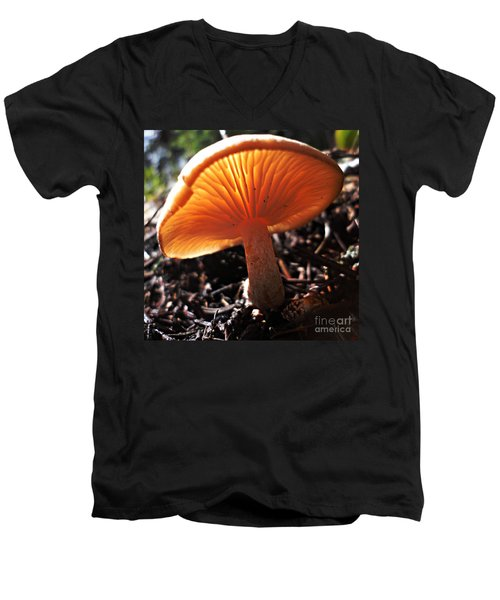 Men's V-Neck T-Shirt featuring the photograph Mushroom by Janice Westerberg