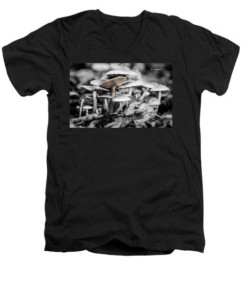Men's V-Neck T-Shirt featuring the photograph Mushrooms by Stwayne Keubrick