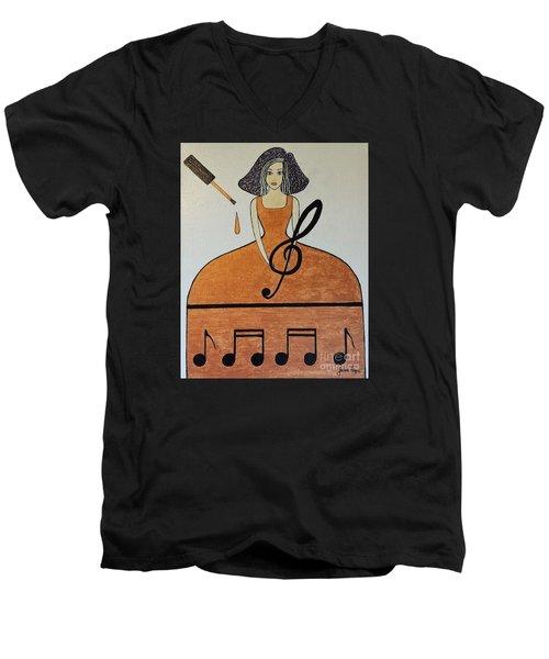 Music Lover Men's V-Neck T-Shirt by Jasna Gopic
