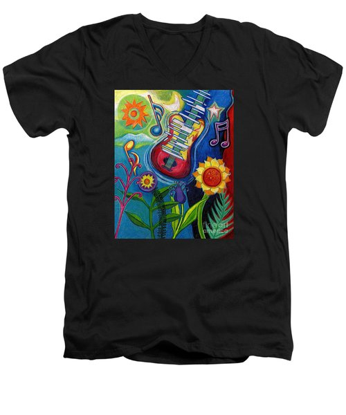 Music On Flowers Men's V-Neck T-Shirt by Genevieve Esson