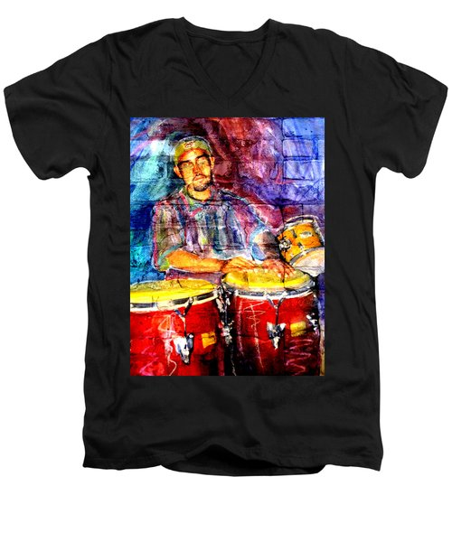 Musician Congas And Brick Men's V-Neck T-Shirt