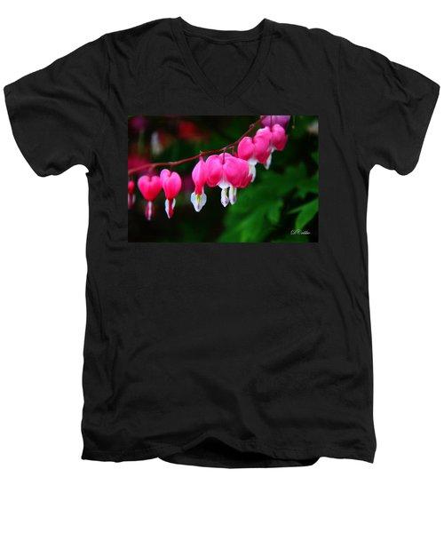 Men's V-Neck T-Shirt featuring the photograph My Bleeding Heart by Davandra Cribbie