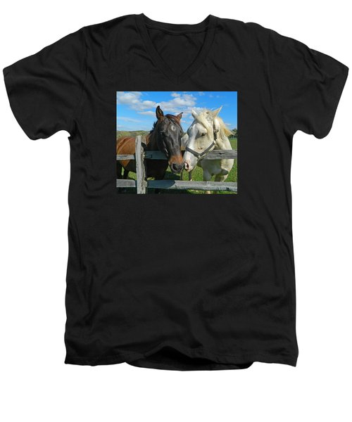 My Buddy Men's V-Neck T-Shirt by Emmy Marie Vickers