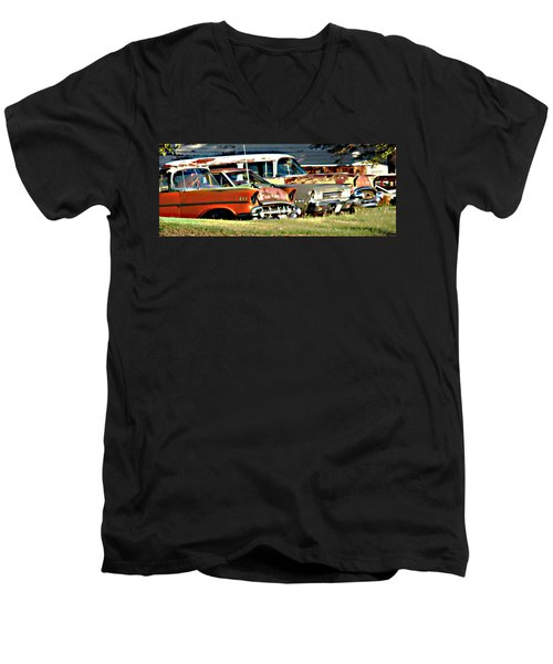 Men's V-Neck T-Shirt featuring the digital art My Cars by Cathy Anderson