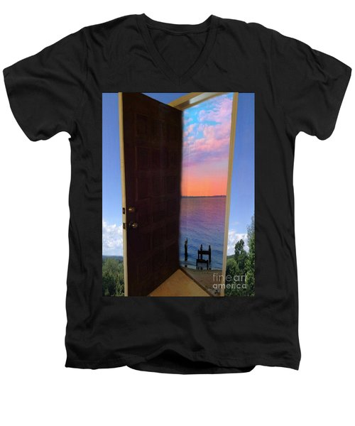 My Door To Success Men's V-Neck T-Shirt by Becky Lupe