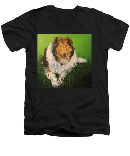 Men's V-Neck T-Shirt featuring the painting My Guardian  by Wendy Shoults